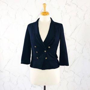 Anthropologie Coquille Cropped Navy Blue Blazer